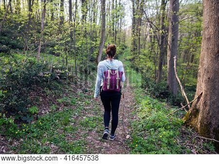 Woman in forest nature. Woman in nature. Nature Green forest nature. Natural environment nature. Nature in springtime. Adventure in nature. Woman hiking in nature. Weekend in nature.