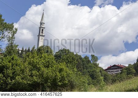 View Of Bell Tower Of Church In Roana, Italy