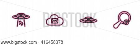 Set Line Ufo Abducts Cow, Flying Spaceship, Cloud Mail Server And Unknown Search Icon. Vector