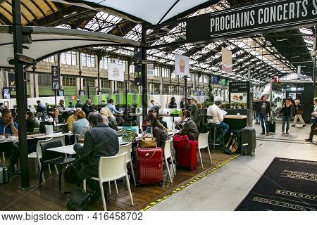 France, Paris, May, 20, 2015 - Passengers Waiting To Board High-speed Trains In Cafe At The Gare De