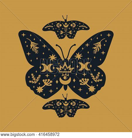Moths On A Golden Background. The Scrawl Depicted Winged, Soaring Dark Butterflies. Mystical Wings W