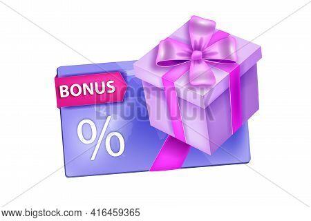 Loyalty Program, Customer Bonus, Discount Gift Card Illustration, Present Box, Ribbon, Isolated On W