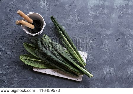 A Bunch Of Black Kale, Italian Salad, Green Vegetable Leave, Healthy Eating, Vegetarian Food. Super