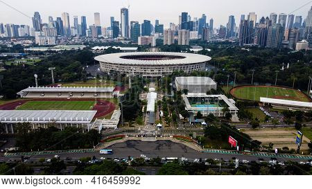 Football Stadium Of Gelora Bung Karno In Jakarta Downtown. Jakarta - Indonesia. April 11, 2021