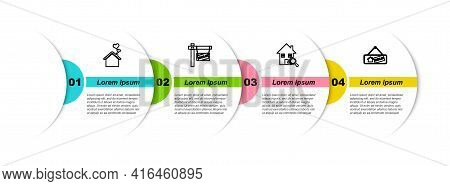 Set Line House With Heart Shape, Hanging Sign Sold, Search House And . Business Infographic Template