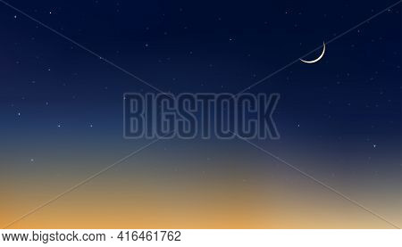 Night Sky With Crescent Moon And Star, Landscape Dramatic Dark Blue,orange And Yellow Sky, Dusk Sky