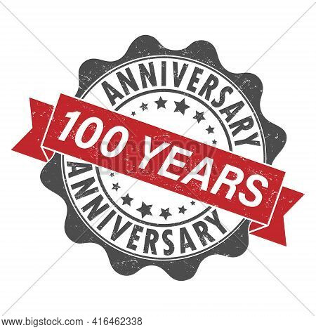 Stamp Impression With The Inscription 100 Years Anniversary. Old Worn Vintage Stamp. Stock Vector Il