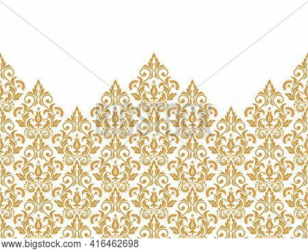 Floral Pattern. Vintage Wallpaper In The Baroque Style. Modern Vector Background. White And Gold Orn