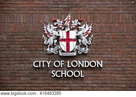 London, Uk - May 20, 2017. The Coat Of Arms Of The City Of London, London, England, Uk, May 20, 2017