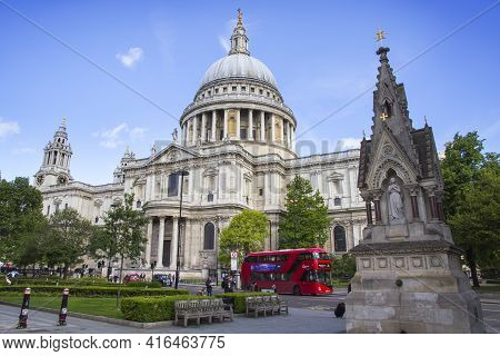 London, Uk - May 20, 2017. Red Bus On Road Outside St Pauls Cathedral, London, England, Uk, May 20,