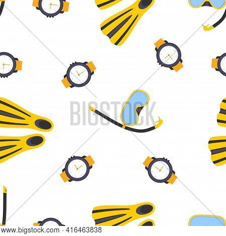 Diving Equipment Seamless Pattern, Background Underwater Equipment For Sport And Snorkeling Leisure,