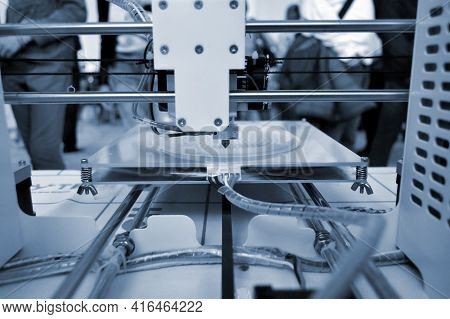 The Process Of Working 3d Printer And Creating A Three-dimensional Object
