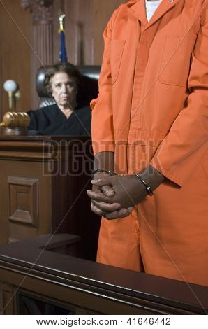Mid section on a criminal standing in the witness stand with judge in the background