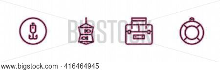 Set Line Fishing Hook, Case Container For Wobbler, Net With Fish And Lifebuoy Icon. Vector
