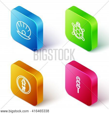 Set Isometric Line Shell With Pearl, Turtle, Octopus On Plate And Takoyaki Stick Icon. Vector