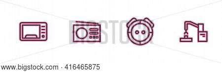 Set Line Microwave Oven, Robot Vacuum Cleaner, Radio And Robotic Robot Arm Hand Factory Icon. Vector