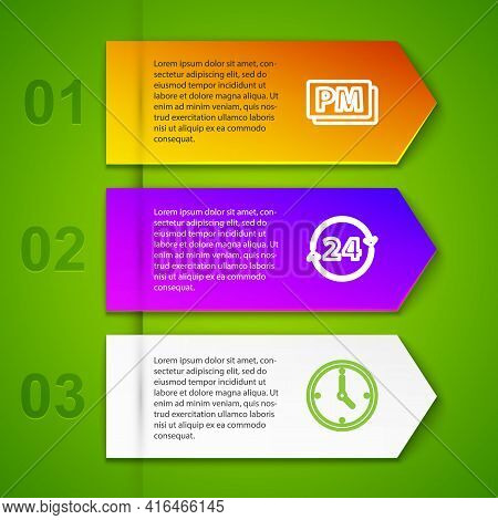 Set Line Clock Pm, 24 Hours, And Retro Wall Watch. Business Infographic Template. Vector