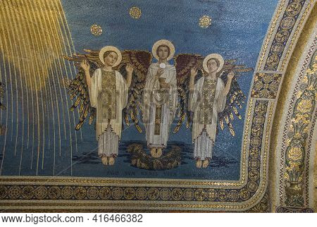 Mount Tabor. Israel. January 27, 2020: Interior Of The Transfiguration Church On Mount Tabor In Isra
