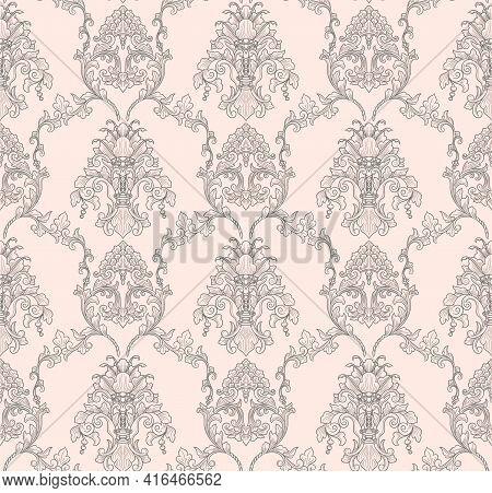 Damask Seamless Pattern Element. Vector Floral Damask Ornament Vintage Illustration.