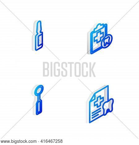 Set Isometric Line Dental Card, Painkiller Tablet, Inspection Mirror And Icon. Vector