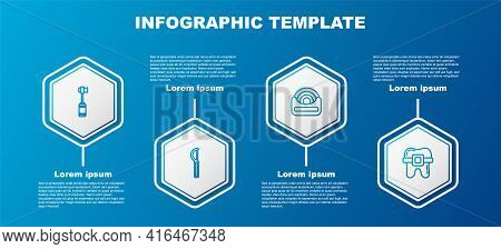 Set Line Toothbrush, Dental Floss, And Teeth With Braces. Business Infographic Template. Vector