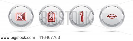 Set Line Dental Clinic Location, Card, Floss And Smiling Lips. Silver Circle Button. Vector