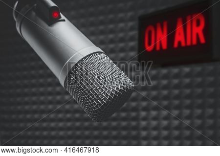 Professional Microphone In Radio Station Studio And On Air Sign