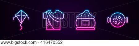 Set Line Kite, Indian Man Dress, And Chicken Tikka Masala. Glowing Neon Icon. Vector