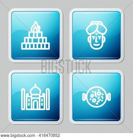 Set Line Yagna, Indian Man, Taj Mahal And Chicken Tikka Masala Icon. Vector