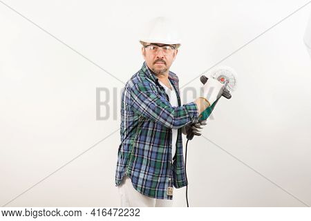 Construction Worker Repairman In Safety Helmet With Wall Sander On White Background