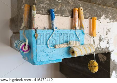 Construction Tool, Wall Paint Rollers In The Construction Area