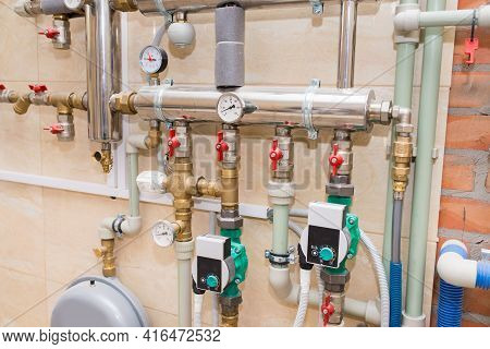 New Autonomous Heating System, Water Heating In The House, Plumbing Installation, Close-up