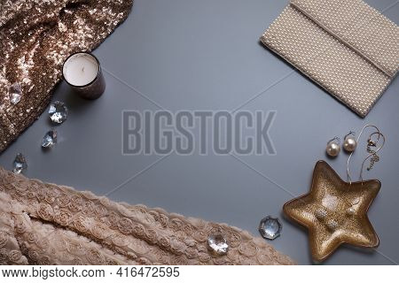 Elegant Background, Template For Your Text. Jewellery And Other Accessories On The Grey Background.
