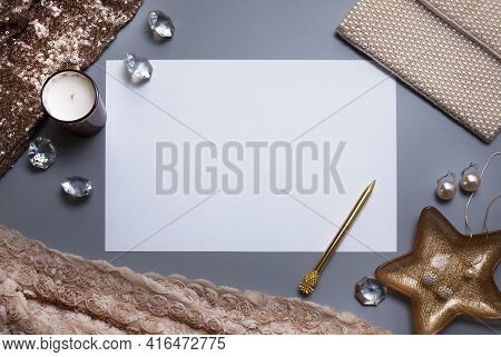 Elegant Background, Template For Your Text. White, Empty Paper Sheet, Jewellery And Other Accessorie