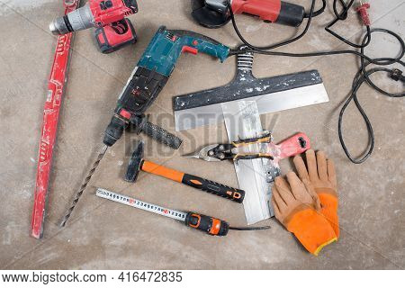 Construction Tools Set, Construction Layout On Concrete Floor During Renovation, House Construction,