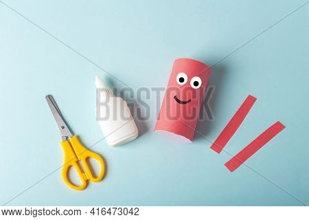 Diy And Kids Creativity. Step By Step Instruction: How To Make Octopus From Toilet Roll Tube. Step2