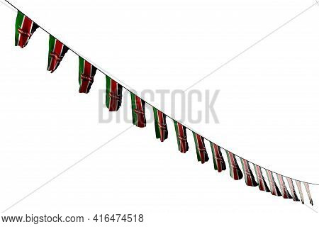 Cute Many Kenya Flags Or Banners Hanging Diagonal On String Isolated On White - Any Holiday Flag 3d