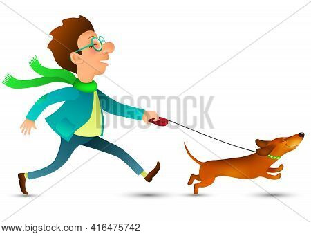 Cartoon Young Man In Glasses Running With His Funny Happy Dachshund  On White Background. Dog Walkin