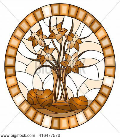 Illustration In Stained Glass Style With Bouquets Of  Flowers In A  Vase And Apples On Table On Ligh