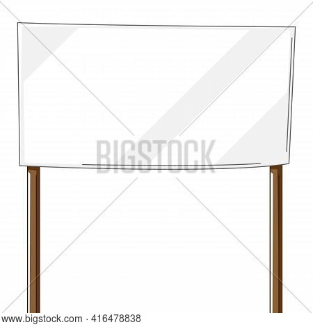 Illustration Of Banner. Blank Demonstration Poster. Picket Sign Or With Wooden Stick.