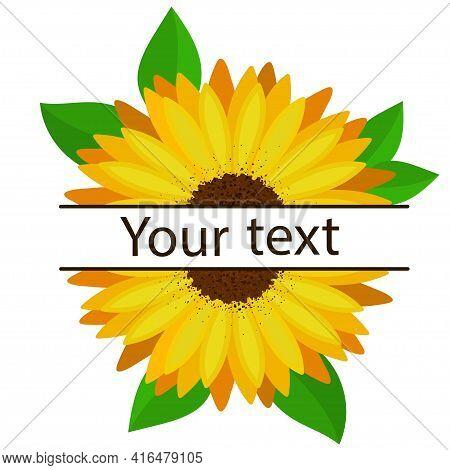 Sunflower Flower Horizontal Monogram Frame With Green Leaves.