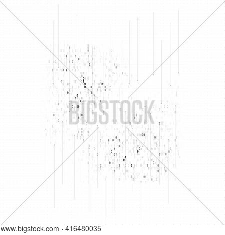 White Color High Tech Technology Background With Digital Data Visualization, Connected Lines And Dot
