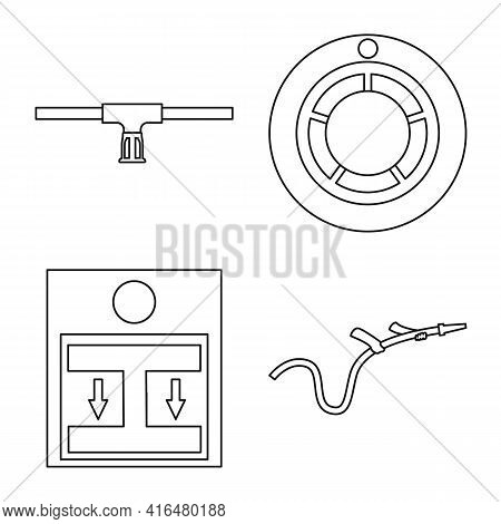 Isolated Object Of Firefighters And Fire Logo. Set Of Firefighters And Rescue Stock Symbol For Web.