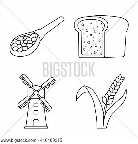 Vector Illustration Of Grain And Harvest Icon. Collection Of Grain And Field Stock Symbol For Web.