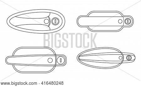 Door Handle Of Car Vector Outline Set Icon. Vector Illustration Automobile Lock On White Background.