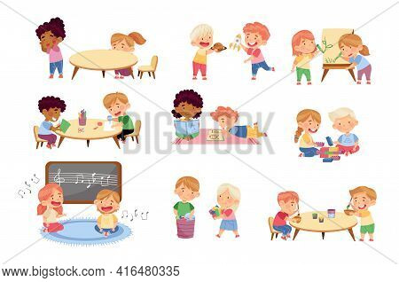 Kids Spending Time Together Playing Toys And Game In Kindergarden Vector Set
