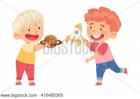 Little Boys Playing With Toy Rocket And Planet In Kindergarden Vector Illustration