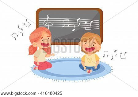 Funny Toddlers In Kindergarden Sitting On The Floor And Singing Song Vector Illustration
