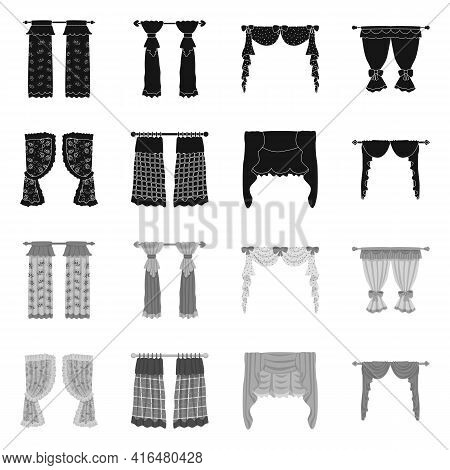Vector Design Of Curtains And Drapes Logo. Set Of Curtains And Blinds Stock Vector Illustration.