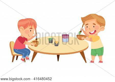 Little Boys In Kindergarden Sitting At Table And Painting Pottery Ware Vector Illustration